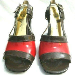 Marc Jacobs Brown & Red Leather Heels Sz 9 NEW